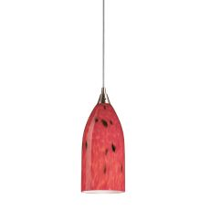 Verona 1 Light Led Pendant In Satin Nickel And Fire Red Glass