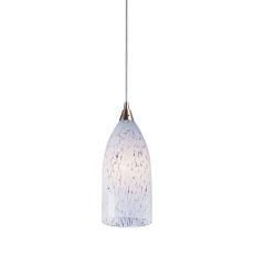 Verona 1 Light Led Pendant In Satin Nickel And Snow White Glass