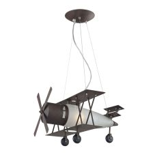 Novelty 1 Light Bi Plane Pendant In Walnut And Satin Glass