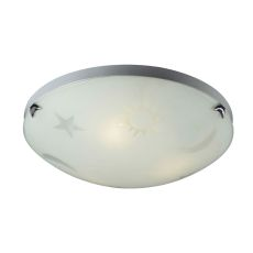 Novelty 3 Light Night Sky Flushmount In Satin White Glass