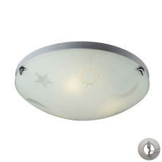 Novelty 3 Light Night Sky Flushmount In Satin White Glass With Recessed Lighting Kit