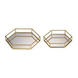 Set Of 2 Mirrored Hexagonal Trays
