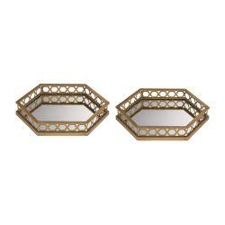 Set Of 2 Ribbed Hexagonal Mirrored Trays