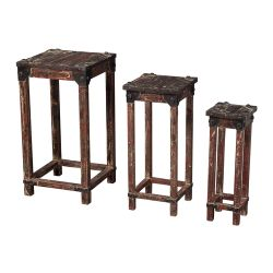 Set Of 3 Distressed Finish Stacking Tables