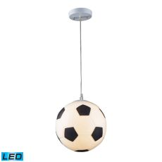 Novelty 1 Light Led Soccer Ball Pendant In Silver