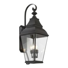 Bristol 3 Light Outdoor Wall Lantern In Charcoal And Beveled Glass