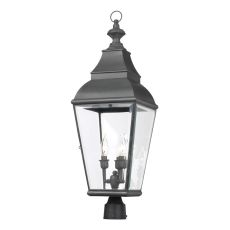 Bristol 3 Light Outdoor Post Lantern In Charcoal And Beveled Glass