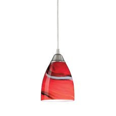 Pierra 1 Light Led Pendant In Satin Nickel And Candy Glass
