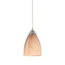 Pierra 1 Light Led Pendant In Satin Nickel And Sandy Glass