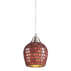 Fusion 1 Light Pendant In Satin Nickel And Copper Glass