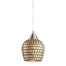 Fusion 1 Light Led Pendant In Satin Nickel And Gold Leaf Glass