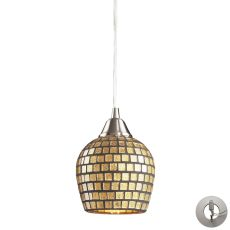 Fusion 1 Light Pendant In Satin Nickel And Gold Leaf Glass - Includes Recessed Lighting Kit