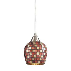 Fusion 1 Light Led Pendant In Satin Nickel And Multi Glass