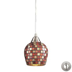 Fusion 1 Light Pendant In Satin Nickel And Multi Glass - Includes Recessed Lighting Kit
