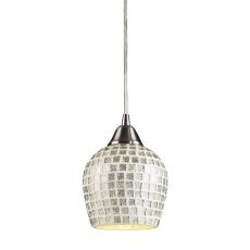 Fusion 1 Light Led Pendant In Satin Nickel And Silver Glass