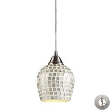 Fusion 1 Light Pendant In Satin Nickel And Silver Glass - Includes Recessed Lighting Kit