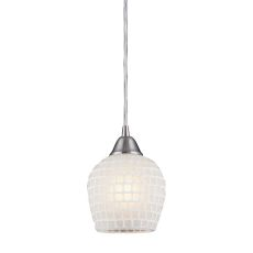 Fusion 1 Light Led Pendant In Satin Nickel And White Glass
