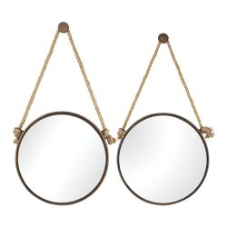 Round Mirrors On Rope - Set Of 2