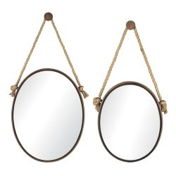 Oval Mirrors On Rope - Set Of 2
