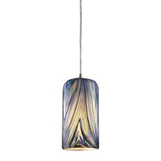 Molten 1 Light Led Pendant In Satin Nickel And Molten Ocean Glass