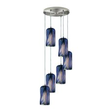 Molten 6 Light Pendant In Satin Nickel And Molten Ocean Glass