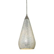 Curvalo 1 Light Led Pendant In Satin Nickel And Silver Crackle Glass