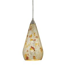 Curvalo 1 Light Led Pendant In Satin Nickel And Silver Multi Crackle Glass