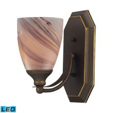 Bath And Spa 1 Light Led Vanity In Aged Bronze And Creme Glass