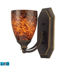 Bath And Spa 1 Light Led Vanity In Aged Bronze And Espresso Glass