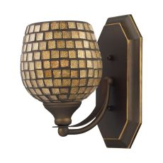 Bath And Spa 1 Light Vanity In Aged Bronze And Gold Leaf Glass