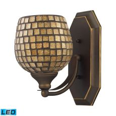 Bath And Spa 1 Light Led Vanity In Aged Bronze And Gold Leaf Glass