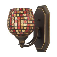 Bath And Spa 1 Light Vanity In Aged Bronze And Multi Fusion Glass