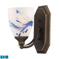 Bath And Spa 1 Light Led Vanity In Aged Bronze And Mountain Glass