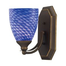 Bath And Spa 1 Light Vanity In Aged Bronze And Sapphire Glass