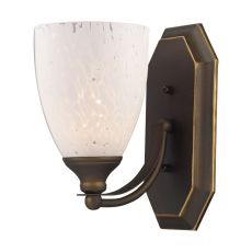 Bath And Spa 1 Light Vanity In Aged Bronze And Snow White Glass