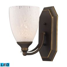 Bath And Spa 1 Light Led Vanity In Aged Bronze And Snow White Glass