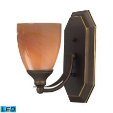 Bath And Spa 1 Light Led Vanity In Aged Bronze And Sandy Glass