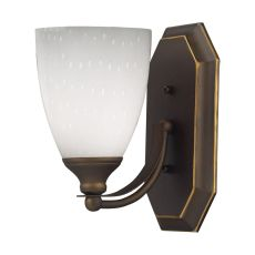 Bath And Spa 1 Light Vanity In Aged Bronze And Simple White Glass