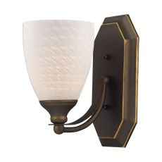 Bath And Spa 1 Light Vanity In Aged Bronze And White Swirl Glass