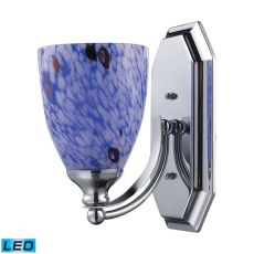 Bath And Spa 1 Light Led Vanity In Polished Chrome And Starburst Blue Glass