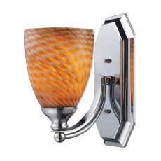 Bath And Spa 1 Light Vanity In Polished Chrome And Cocoa Glass