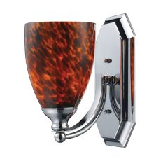 Bath And Spa 1 Light Vanity In Polished Chrome And Espresso Glass