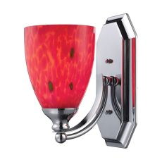 Bath And Spa 1 Light Vanity In Polished Chrome And Fire Red Glass
