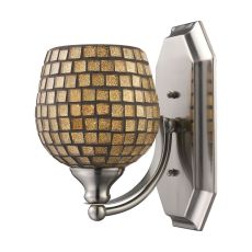 Bath And Spa 1 Light Vanity In Polished Chrome And Gold Leaf Glass