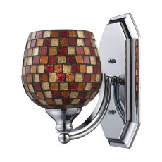 Bath And Spa 1 Light Vanity In Polished Chrome And Multi Fusion Glass