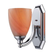 Bath And Spa 1 Light Vanity In Polished Chrome And Sandy Glass