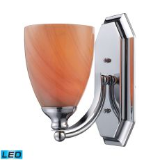 Bath And Spa 1 Light Led Vanity In Polished Chrome And Sandy Glass