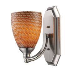 Bath And Spa 1 Light Vanity In Satin Nickel And Cocoa Glass