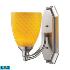 Bath And Spa 1 Light Led Vanity In Satin Nickel And Canary Glass