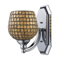 Bath And Spa 1 Light Vanity In Satin Nickel And Gold Leaf Glass